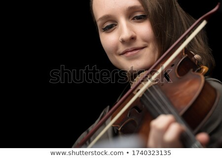 Gelukkig glimlachende vrouw spelen barok viool repetitie Stockfoto © Giulio_Fornasar