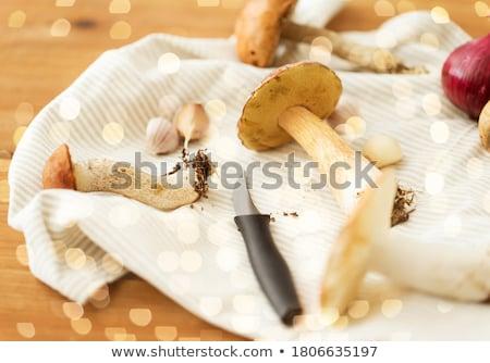Ehető gombák konyha kés törölköző főzés Stock fotó © dolgachov