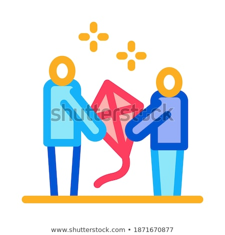 Kite ouder kind icon vector Stockfoto © pikepicture