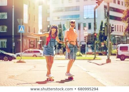 çift şehir sokak yaz tatil doğa sporları Stok fotoğraf © dolgachov