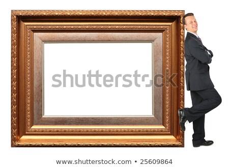 işadamı · resim · çerçevesi · kolaj · kâğıt · gülümseme · mutlu - stok fotoğraf © Paha_L