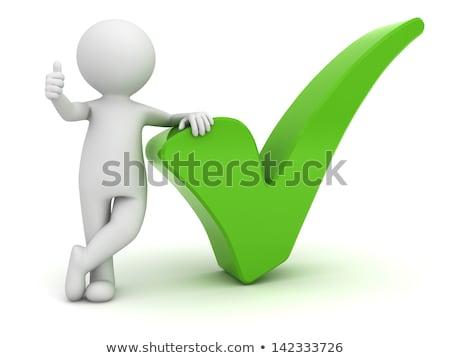 o · homem · 3d · verde · verificar · vermelho · fundo - foto stock © dacasdo