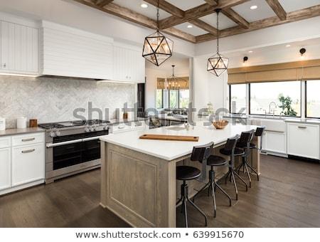 Acero inoxidable fregadero cocina cuarzo contra alimentos Foto stock © Balefire9