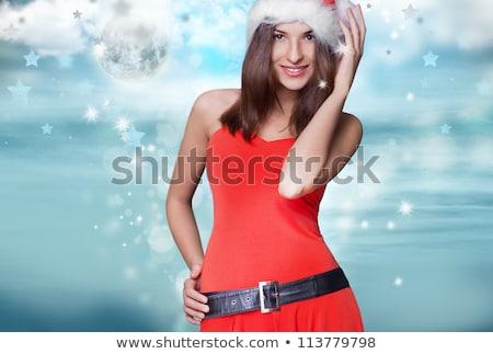 Yıl güzel bir kadın Noel elbise poz gri Stok fotoğraf © HASLOO