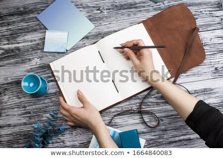 白 · ノートブック · 絵画 · 木製 · オフィス · 紙 - ストックフォト © Archipoch