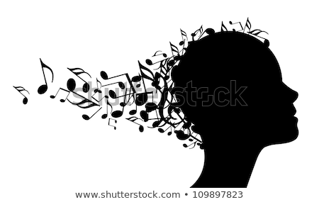 woman head silhouette with music notes stock photo © cienpies