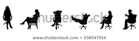Stockfoto: Vrouw · vergadering · stoel · aktetas · kleur · jonge