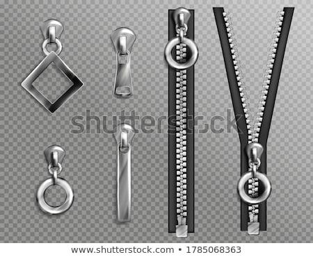 Metallic Reißverschluss cool detaillierte öffnen weiß Stock foto © oblachko
