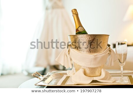 The bride  with glass of champagne in the luxuriant inteior. Stock photo © Pilgrimego