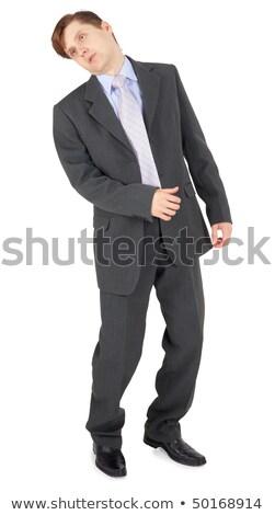 Jungen Geschäftsmann schwierig Schlag isoliert weiß Stock foto © pzaxe