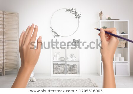 woman's hand drawing the dream home Stock photo © vlad_star