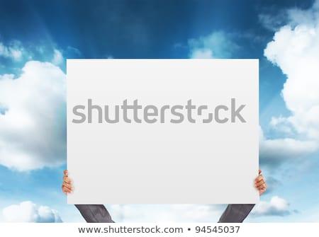 erkek · kadın · alçıpan · afiş · ofis · çalışmak - stok fotoğraf © lisafx
