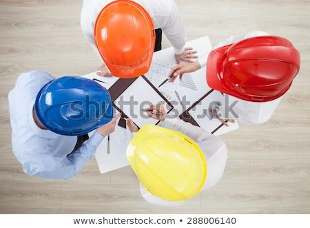Construction équipage plans maison industrie Photo stock © photography33