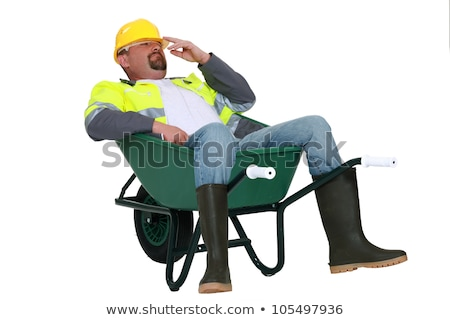 ストックフォト: 職人 · 座って · 手押し車 · 幸せ · 人 · 笑い