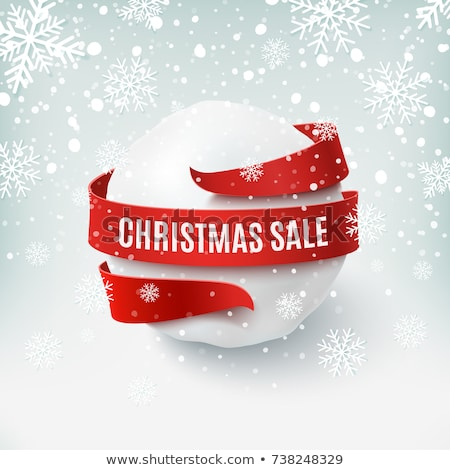 christmas special red circle banner with snowflakes symbol stock photo © marinini