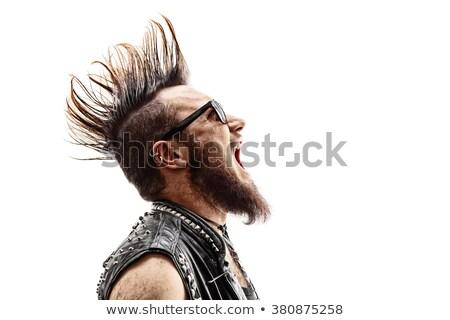 Punk rocker gyönyörű nő elektromos basszus gitár Stock fotó © piedmontphoto
