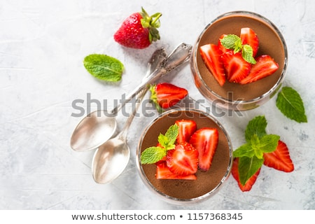 chocolate mousse and strawberries Stock photo © M-studio