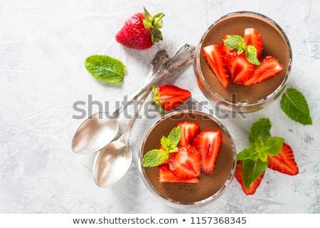 csokoládé · hab · eprek · fa · asztal · étel · étterem · zöld - stock fotó © m-studio