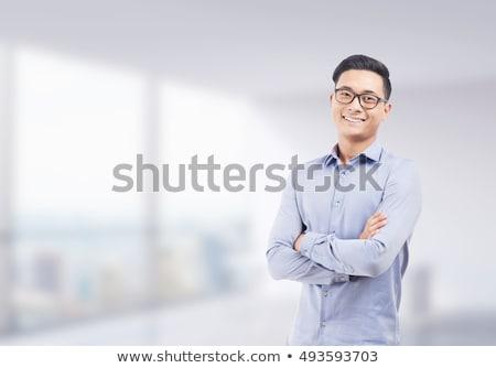 молодые · бизнесмен · рук · сложенный · лице · Sexy - Сток-фото © wavebreak_media