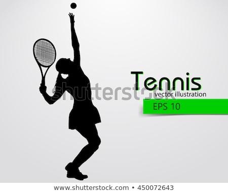 teniszező · sziluett · vektor · nők · sport · test - stock fotó © krabata