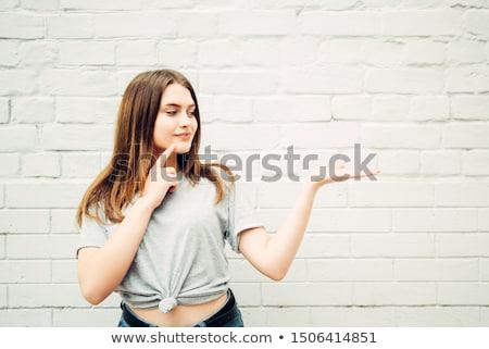 что-то · Palm · красивая · женщина · стороны · женщину - Сток-фото © wavebreak_media