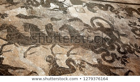 Ancient Roman Neptune in Chariot Mosaic Floor Ostia Antica Rome  Stock photo © billperry