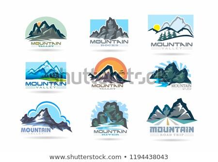 güzel · kırmızı · gün · batımı · mavi · dağlar · zengin - stok fotoğraf © snyfer