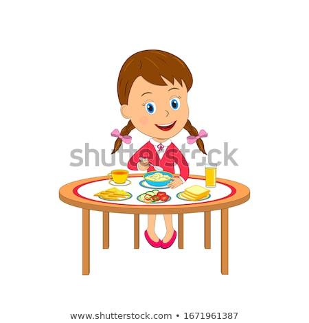 女の子 朝食 顔 レストラン 表 肖像 ストックフォト © travnikovstudio