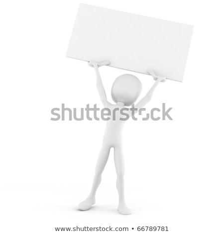 3d man holding a big blank placard Stock photo © digitalgenetics