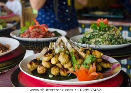 Bali geleneksel gıda tavuk balık sebze Stok fotoğraf © Witthaya