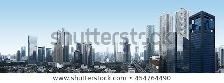 Dzsakarta · sziluett · Indonézia · feketefehér · üzlet · szépség - stock fotó © compuinfoto