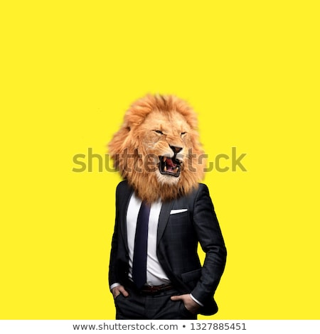 a man and a lion stock photo © mariephoto