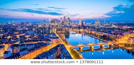 Frankfurt · noite · linha · do · horizonte · luz · ponte · banco - foto stock © dirkr