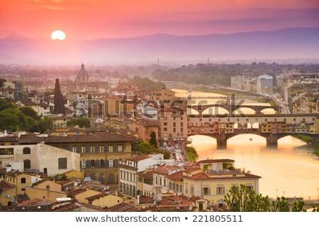 Sunrise at Arno River Embankment in Florence, Tuscany, Italy Stock photo © anshar