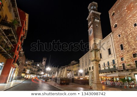 Cafe on Piazza delle Erbe at Night, Verona, Veneto, Italy stock photo © anshar