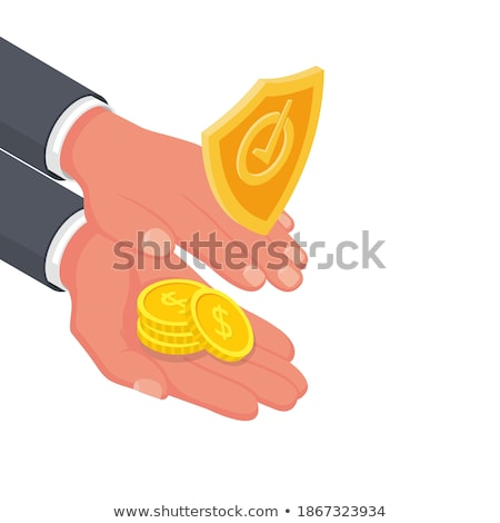 Stock photo: Businessman holding shield with dollar currency symbol
