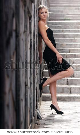 klasszikus · nő · feketefehér · portré · gyönyörű · barna · hajú - stock fotó © pxhidalgo