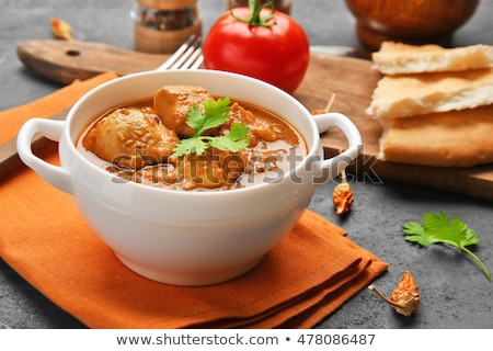 Pan with soup at the table Stock photo © DedMorozz