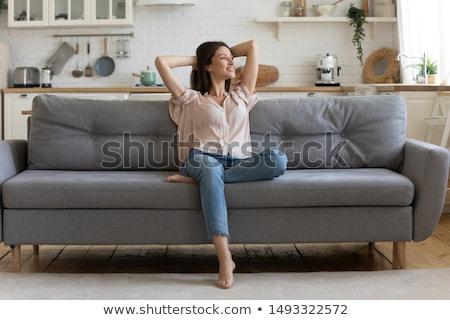 Boldog nő álmodozás dől asztal áll Stock fotó © AndreyPopov