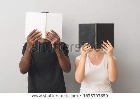 Férfi tisztelet nők könyv könyvek asztal Stock fotó © maxmitzu