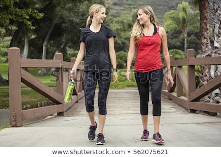 美しい 小さな ブロンド 女性 徒歩 橋 ストックフォト © Kor