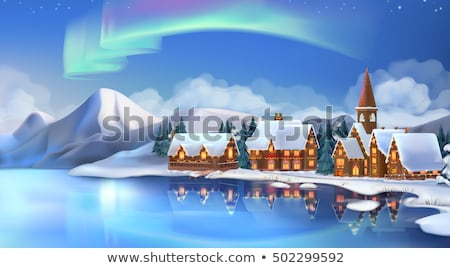 winter · cartoon · vector · sneeuw · huisje · hemel - stockfoto © Lota
