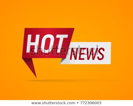 Hot News Concept in Flat Design on Orange Background. Stock photo © tashatuvango
