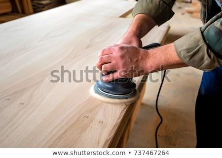 Eléctrica carpintero hombre madera construcción avión Foto stock © Hofmeester