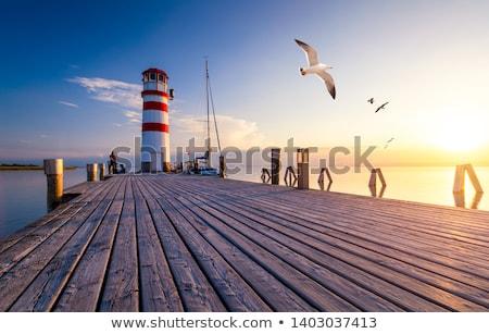 lighthouse at lake neusiedl at sunset stock photo © kayco