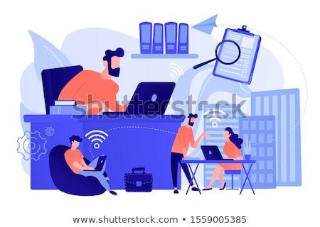 Businessman with urban scene as backdrop Stock photo © cherezoff