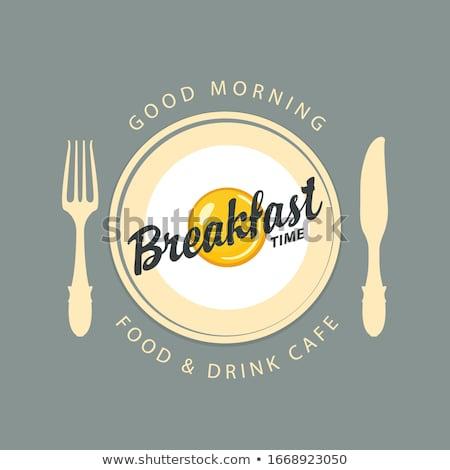 Café da manhã tempo verde chá preto ouro Foto stock © natika