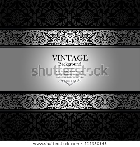 Luxury silver card with vintage pattern and black label Stock photo © liliwhite