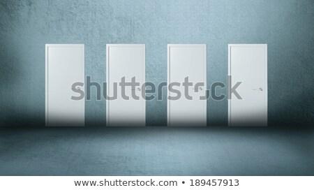 Quatre portes gris blanche fermé bleu Photo stock © HASLOO