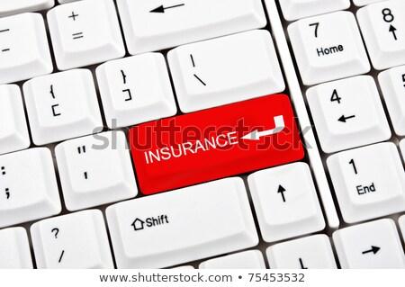 Auto verzekering Rood toetsenbord knop zwarte Stockfoto © tashatuvango